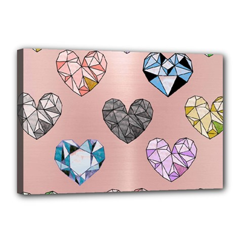 Gem Hearts And Rose Gold Canvas 18  X 12