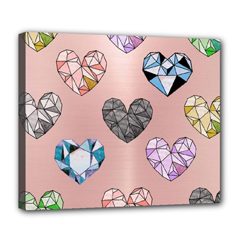 Gem Hearts And Rose Gold Deluxe Canvas 24  X 20
