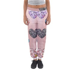 Gem Hearts And Rose Gold Women s Jogger Sweatpants