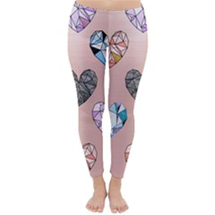 Gem Hearts And Rose Gold Classic Winter Leggings