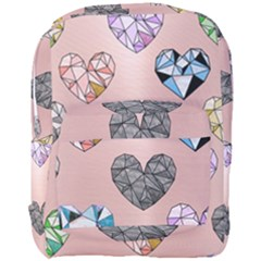 Gem Hearts And Rose Gold Full Print Backpack by 8fugoso