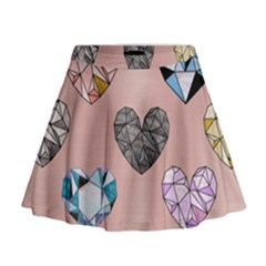 Gem Hearts And Rose Gold Mini Flare Skirt