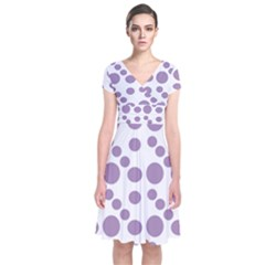 Violet Dots Short Sleeve Front Wrap Dress