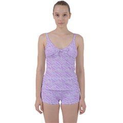 Silly Stripes Lilac Tie Front Two Piece Tankini