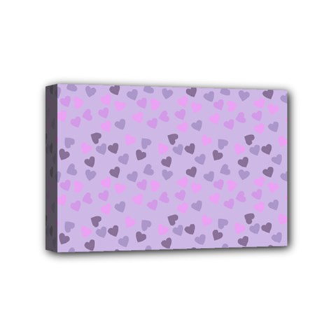 Heart Drops Violet Mini Canvas 6  X 4