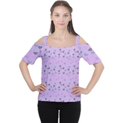 Heart Drops Violet Cutout Shoulder Tee by snowwhitegirl