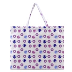 Milk And Donuts Zipper Large Tote Bag