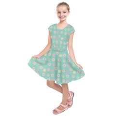 Teal Donuts And Milk Kids  Short Sleeve Dress