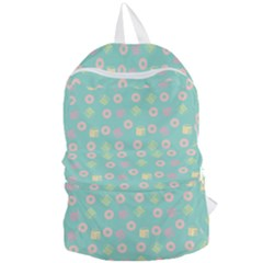 Teal Donuts And Milk Foldable Lightweight Backpack