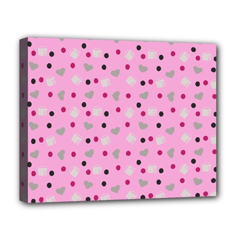 Pink Milk Hearts Deluxe Canvas 20  X 16