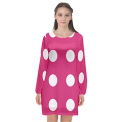 Pink Dot Long Sleeve Chiffon Shift Dress