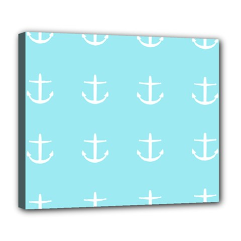 Aqua Anchor Deluxe Canvas 24  X 20