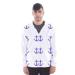 Royal Anchors On White Hooded Windbreaker (men)