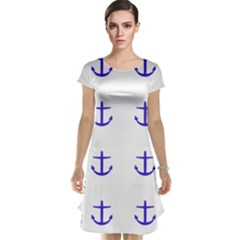 Royal Anchors On White Cap Sleeve Nightdress