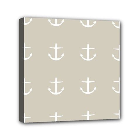 Lt Grey Anchors Mini Canvas 6  X 6  by snowwhitegirl