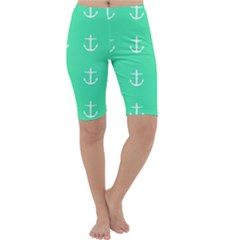 Seafoam Anchors Cropped Leggings