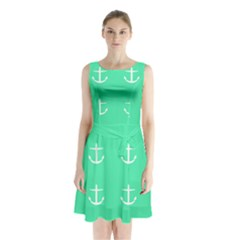 Seafoam Anchors Sleeveless Waist Tie Chiffon Dress