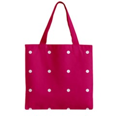 Small Pink Dot Zipper Grocery Tote Bag