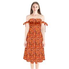 Red Retro Dots Shoulder Tie Bardot Midi Dress