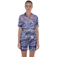 In The Clouds Satin Short Sleeve Pyjamas Set
