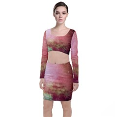 Galaxy Red Long Sleeve Crop Top & Bodycon Skirt Set