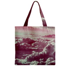 In The Clouds Pink Zipper Grocery Tote Bag by snowwhitegirl