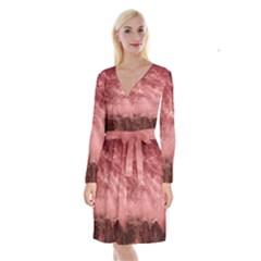 Red  Ocean Splash Long Sleeve Velvet Front Wrap Dress by snowwhitegirl