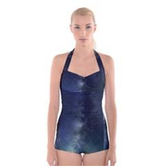 Galaxy Sky Boyleg Halter Swimsuit