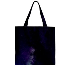 Galaxy Sky Purple Zipper Grocery Tote Bag
