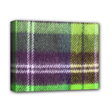 Neon Green Plaid Flannel Deluxe Canvas 14  X 11