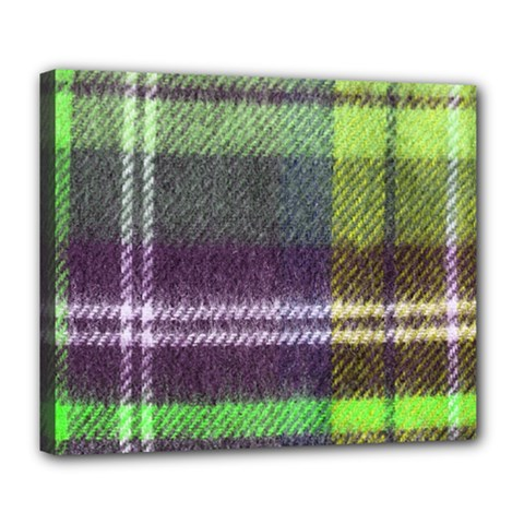 Neon Green Plaid Flannel Deluxe Canvas 24  X 20