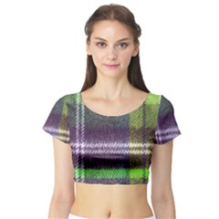 Neon Green Plaid Flannel Short Sleeve Crop Top