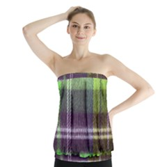 Neon Green Plaid Flannel Strapless Top