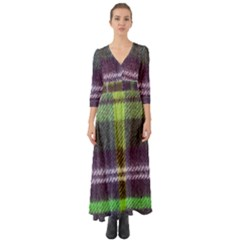 Neon Green Plaid Flannel Button Up Boho Maxi Dress