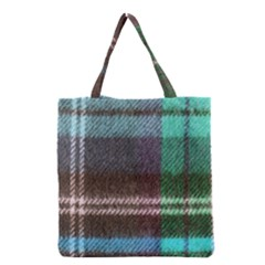 Blue Plaid Flannel Grocery Tote Bag