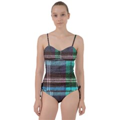 Blue Plaid Flannel Sweetheart Tankini Set