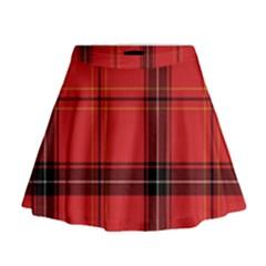 Red Plaid Mini Flare Skirt