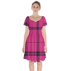 Dark Pink Plaid Short Sleeve Bardot Dress