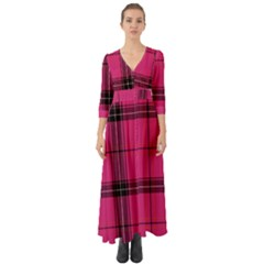 Dark Pink Plaid Button Up Boho Maxi Dress