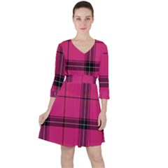Dark Pink Plaid Ruffle Dress
