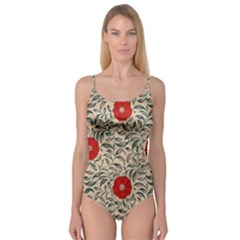 Papanese Floral Red Camisole Leotard