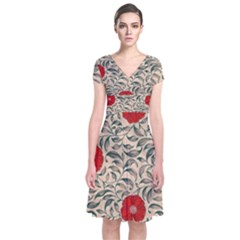 Papanese Floral Red Short Sleeve Front Wrap Dress