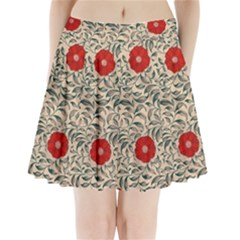 Papanese Floral Red Pleated Mini Skirt