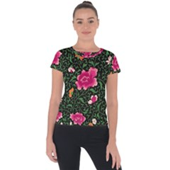 Pink Japan Floral Short Sleeve Sports Top