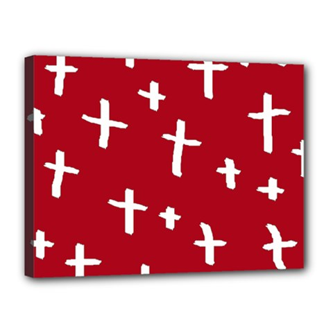 Red White Cross Canvas 16  X 12