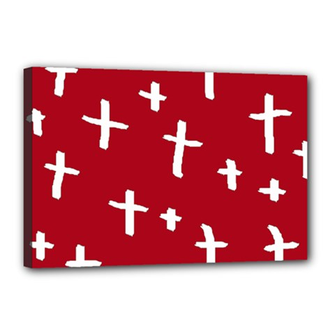 Red White Cross Canvas 18  X 12  by snowwhitegirl