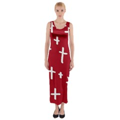 Red White Cross Fitted Maxi Dress