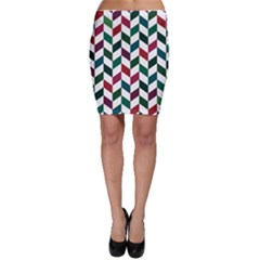 Zigzag Chevron Pattern Green Red Bodycon Skirt