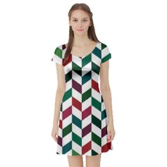 Zigzag Chevron Pattern Green Red Short Sleeve Skater Dress