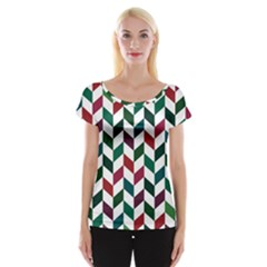 Zigzag Chevron Pattern Green Red Cap Sleeve Tops